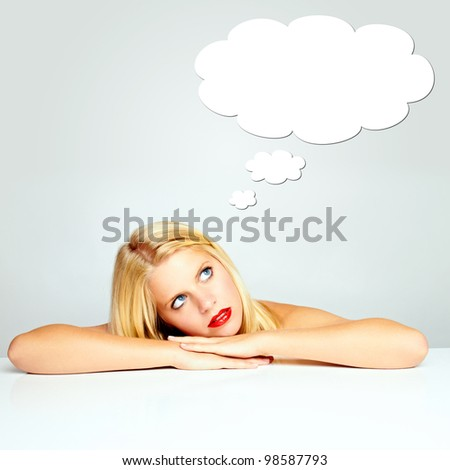 portrait of a beautiful young woman on a white ground with red lips - copyspace - stock photo