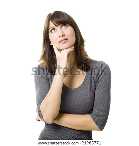 Portrait of a beautiful young woman thinking, isolated on white background - stock photo