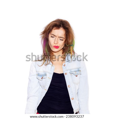Portrait of a beautiful young woman thinking, not isolated on white background - stock photo