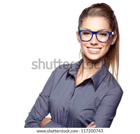 Portrait of a beautiful young woman wearing glasses - stock photo