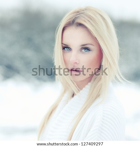 portrait of a beautiful young woman with a sexy look - stock photo