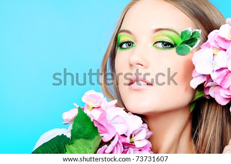 Portrait of a beautiful young woman with spring make-up. Beauty, fashion. - stock photo