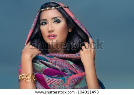 Portrait of a beauty arabian lady in a sensual beauty portrait - stock photo