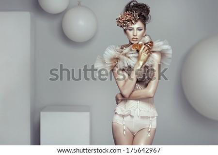 Portrait of a beauty woman - stock photo