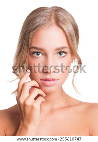 Portrait of a blond beauty with perfect tanned skin. - stock photo