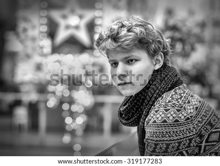 Portrait of a blonde teenager. - stock photo