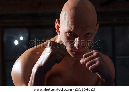 portrait of a boxer with fists near the face - stock photo