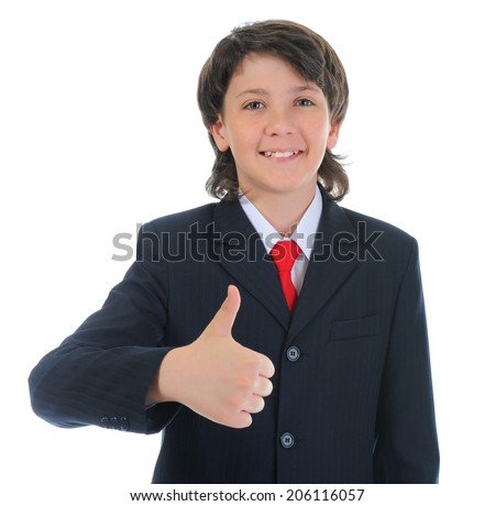 portrait of a boy businessman in a business suit. Isolated on white background - stock photo
