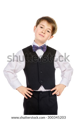 Portrait of a boy in a suit. Fashion kids. Education. Isolated over white. - stock photo