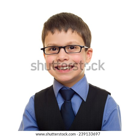 portrait of a boy in business suit on white - stock photo