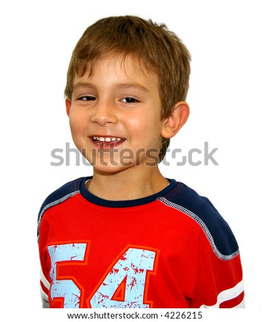 Portrait of a boy (isolated) - stock photo