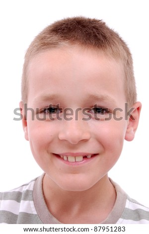 portrait of a boy isolated on white - stock photo