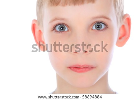 Portrait of a boy isolated over white background. - stock photo