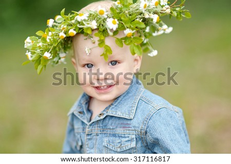 Portrait of a boy on vacation in summer camp - stock photo