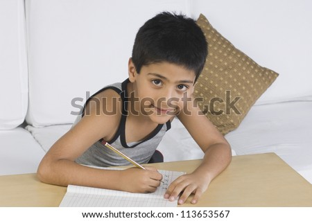 Portrait of a boy sitting on a sofa and writing - stock photo