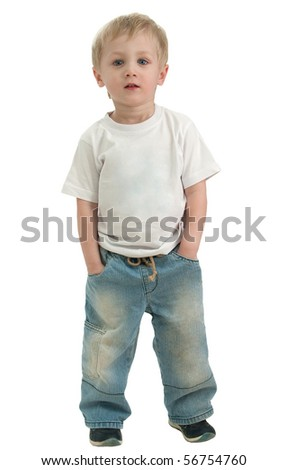 Portrait of a boy three years, in full growth. He looks straight, serene look. Isolated over white - stock photo