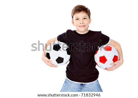 Portrait of a boy with a ball. Isolated over white background. - stock photo