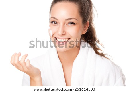 Portrait of a brunette pure clean beauty. - stock photo