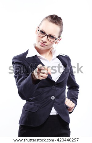Portrait of a business lady in glasses - stock photo