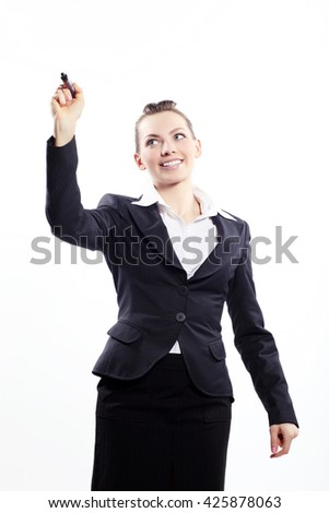 Portrait of a business lady with marker - stock photo
