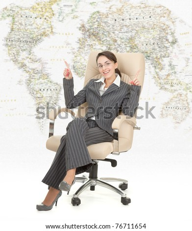 portrait of a business woman on travel background - stock photo