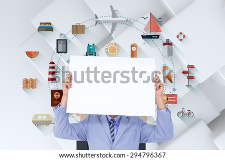 Portrait of a businessman hiding his face behind a blank panel against white tile design - stock photo
