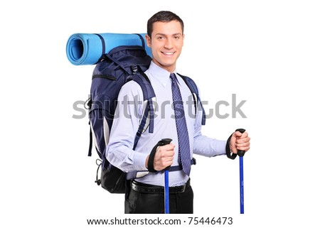 Portrait of a businessman in a suit with backpack and hiking poles isolated on white background - stock photo