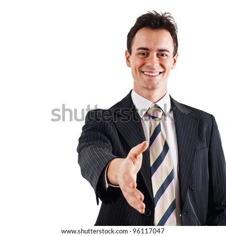 Portrait of a businessman introducing himself - stock photo