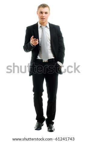 Portrait of a businessman isolated on a white background - stock photo