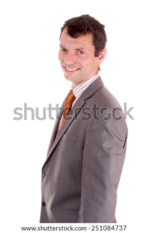 Portrait of a businessman standing against isolated white background - stock photo