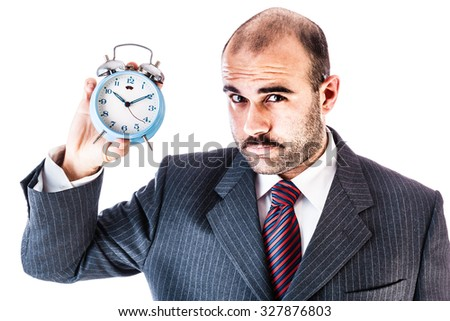 portrait of a businessman with an old and classic alarm clock isolated over a white background - stock photo