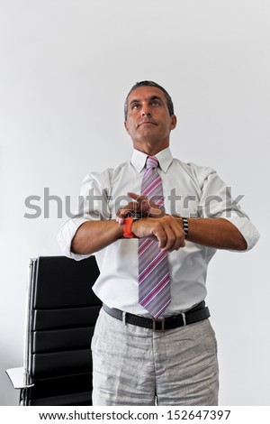 Portrait of a businessman with the top look like concept for hoping in business - stock photo