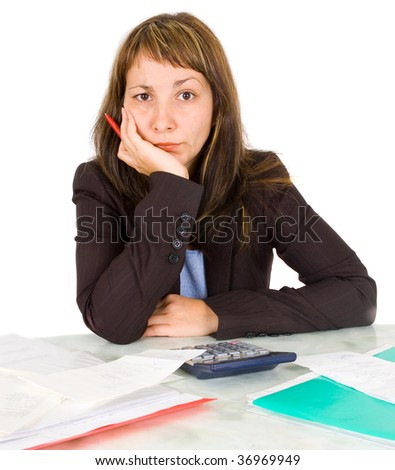 portrait of a businesswoman with a calculator - stock photo