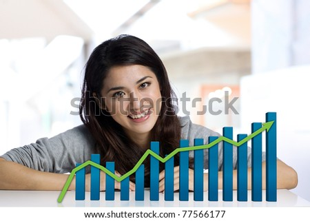 Portrait of a Businesswoman with finance chart - stock photo