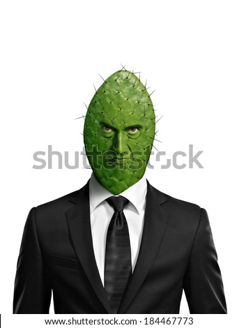 Portrait of a cactus head businessman isolated on white - stock photo