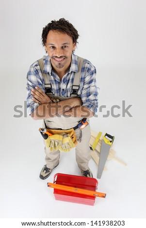 Portrait of a carpenter - stock photo