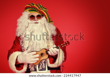 Portrait of a casual Santa Claus hippie over festive red background. Copy space. - stock photo