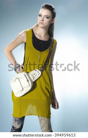 portrait of a casual young fashion model  - stock photo