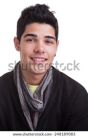 Portrait of a casual young man, smiling, over white background. - stock photo
