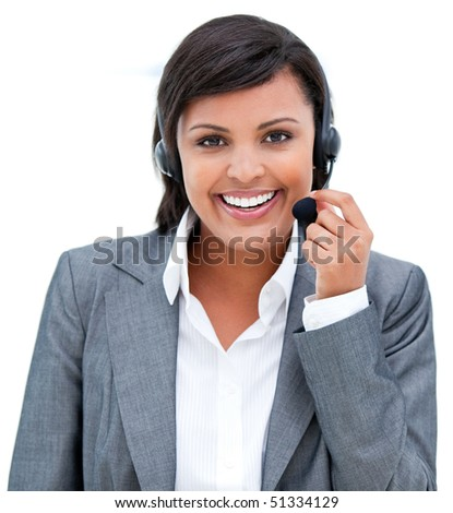 Portrait of a charismatic customer agent at work against a white background - stock photo