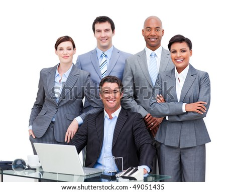 Portrait of a charismatic multi-ethnic business people working at a laptop in the office - stock photo