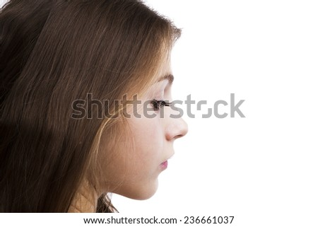 portrait of a charming young girl on a white background - stock photo
