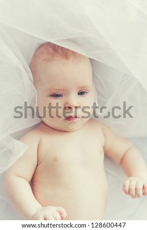 portrait of a cheerful baby - stock photo