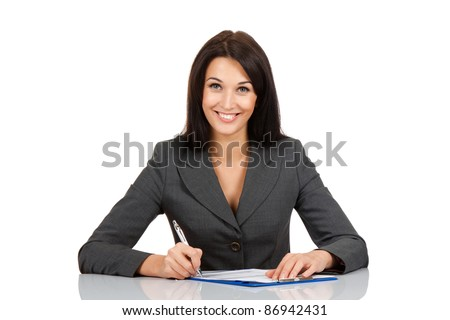 Portrait of a cheerful Business woman sitting on her desk holding a pen working with documents sign up contract isolated over white background - stock photo