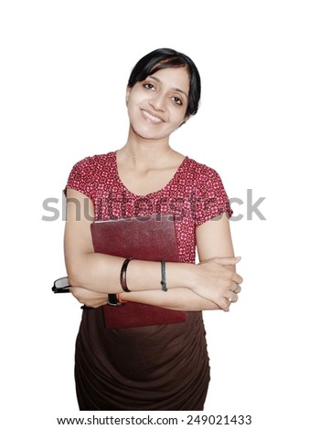 Portrait of a cheerful instructor with books and glasses. - stock photo
