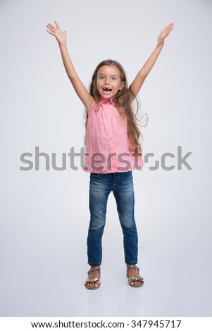 Portrait of a cheerful little girl with expression emotions isolated on a white background - stock photo