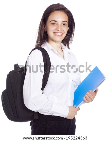Portrait of a cheerful young student girl, isolated on white background - stock photo