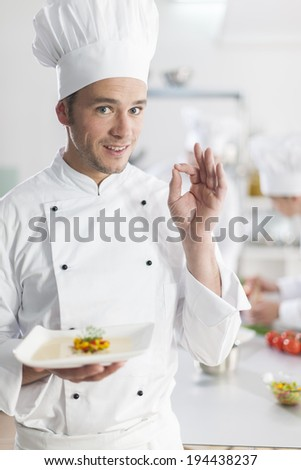 Portrait of a chef making a perfect sign with his team in background - stock photo