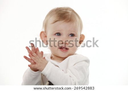 Portrait of a child on a white background in the Studio - stock photo