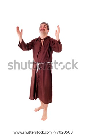 Portrait of a Christian monk in brown habit - stock photo